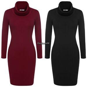 Women-Lady-Cowl-Neck-Knit-Fall-Casual-Work-Sweater-Dress-Long-Sleeve-M-L-XL-XXL