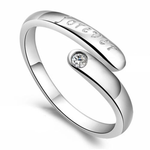 925 STERLING SILVER PLATED ADJUSTABLE  RING CRYSTAL FOREVER THUMB FINGER RING