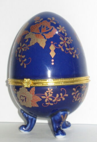 Porzellanei Osterei Ei Schmuckdose Sammlerdose Kobald Blau gold Rose 12cm
