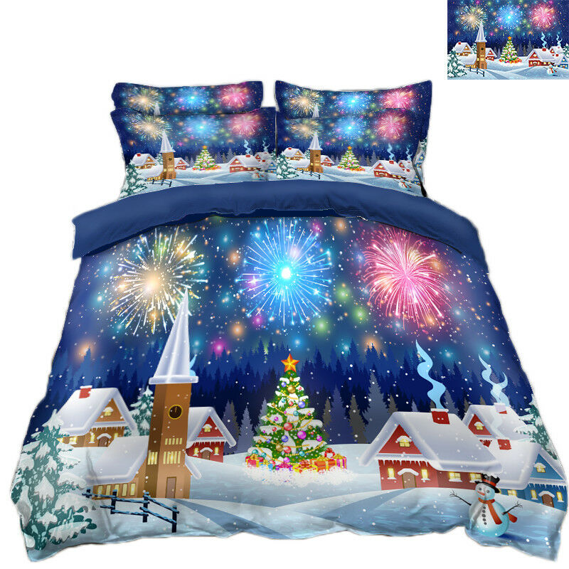 3D Christmas Xmas Fireworks 8 Bed Pillowcases Quilt Duvet Cover Set Single Queen