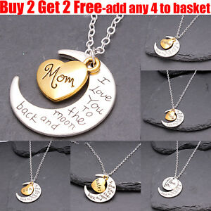 I-Love-You-To-The-Moon-amp-Back-Family-Heart-Silver-Necklace-Pendant-For-Women-Men