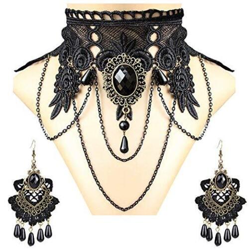 Noir Crochet Dentelle Collier Tour de Cou Gothique Bijoux Halloween amulettes Boucles d/'oreilles Set
