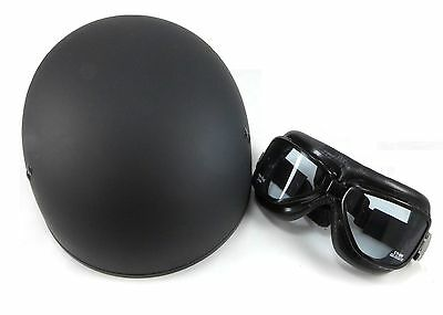 GMAX GM45 Flat Black Half Helmet Emgo Roadhawk Goggles Combo Harley Davidson
