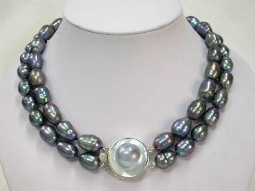 "18/"" 2 rangées 9-11 mm Naturel Tahitian black Pearl Necklace 17/"""