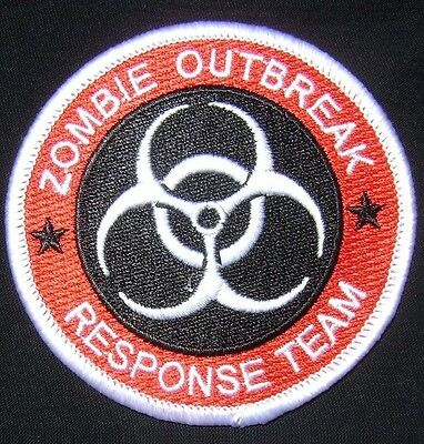 ZOMBIE HUNTER OUTBREAK RESPONSE TEAM TACTICAL ARMY COMBAT CODE RED IRON ON PATCH