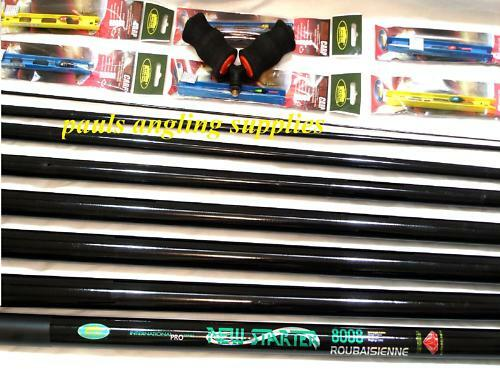 8m Starter Fishing Pole 10 Elastic Fitted Roller & Rigs