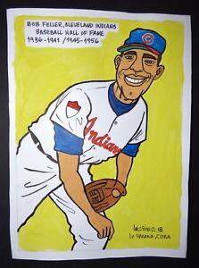 Original-Cuban-Drawing-BOB-FELLER-Baseball-Hall-of-Fame-CLEVELAND-INDIANS-Cuba