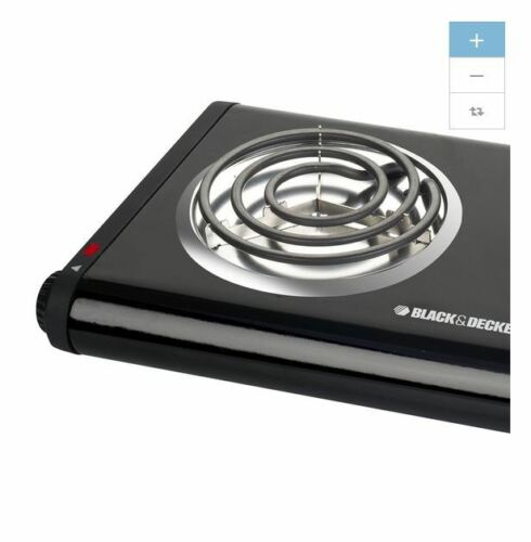 NEW Black 11 In Plastic Electric Hot Plate Hotplate 2 Burner Stove Portable Camp