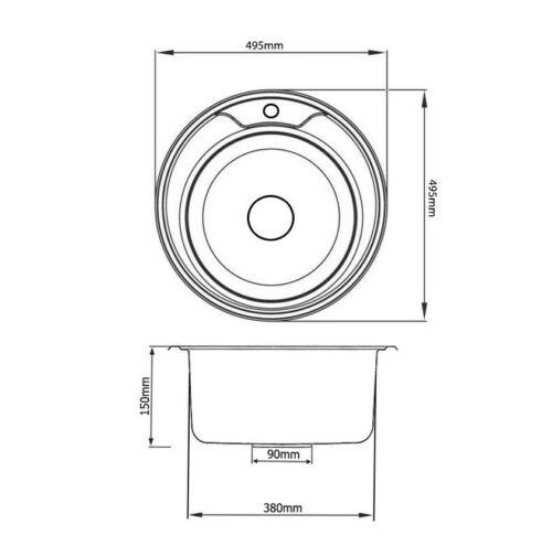 Mega Küchenarmatur Spülbecken Einbauspüle 49,5cm Ø Edelstahl Rund Küchenspüle
