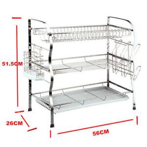 Brand-New-3-Tier-Steel-Dish-Drainer-Crockery-Cutlery-Rack-Organiser-Drip-Tray