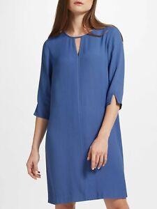 John-Lewis-Tipped-Viscose-Shift-Dress-Blue-Straight-Cut-UK-10-New