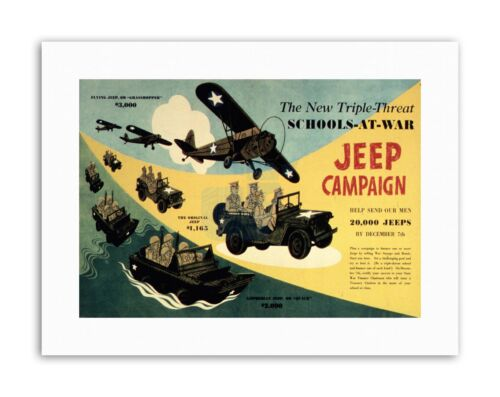 WAR WWII USA JEEP CAMPAIGN SCHOOL Military Canvas art Prints