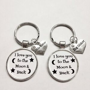 2 Keychains Big Sister Little Sister I Love You To The Moon And Back