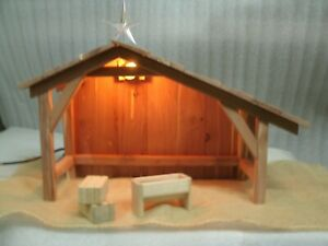 Cedar-Nativity-Stable-Shed-Manger-scene-Creche-Toy-Miniature-Christmas-Light