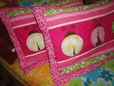 CIRCO LADYBUG PINK GREEN BROWN QUILTED (PAIR) STANDARD PILLOW SHAMS GIRLS 19X25