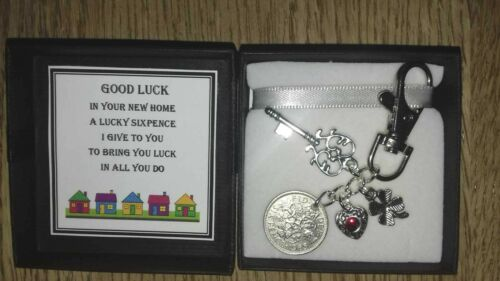 GOOD LUCK IN YOUR NEW HOME LUCKY SIXPENCE GIFT KEY//BAG CHARM KEEPSAKE