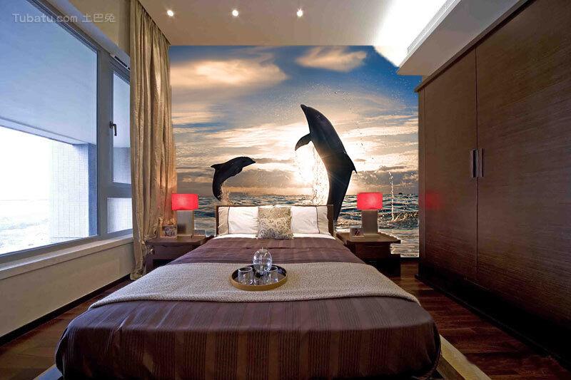 3D Das Meer delFine 0787 Fototapeten Wandbild Fototapete BildTapete Familie DE