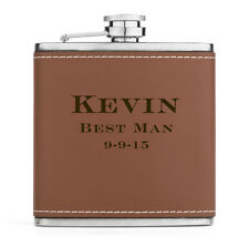 Custom Engraved 6oz Stainless Steel Flask Brown GENUINE LEATHER PERSONALIZED