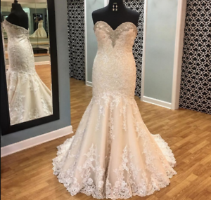 Details about Plus Size Champagne Mermaid Wedding Dress Lace Appliques  Beaded Bridal Gown