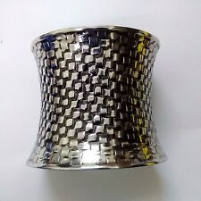 SQUARED - Silver Oxidized Cuff Bracelet Wristlet Wristband Band Bangle Jewelry