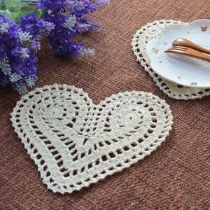 4Pcs-Vintage-Cotton-Hand-Crochet-Lace-Doily-Doilies-Mat-Heart-Placemat-15x20cm