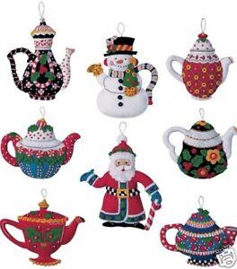 Bucilla Mary ENGELBREIT Santa CHRISTMAS TEAPOTS Felt Ornaments Kit ...