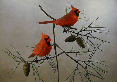 Two Male Northern Cardinals Original Wood Carving