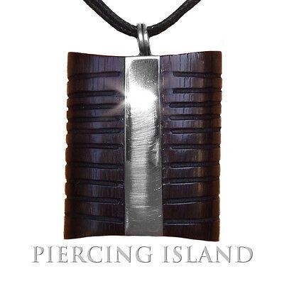 Amulett Design Anhänger inkl. Band Holz Edelstahl PB194