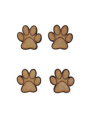 20x Perro Animales Paw 2cm Madera Artesanales Embelishments Corte Láser forma Mdf