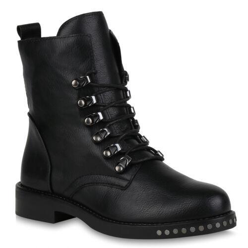 Damen Stiefeletten Modische Schnürstiefeletten 823861 Schuhe