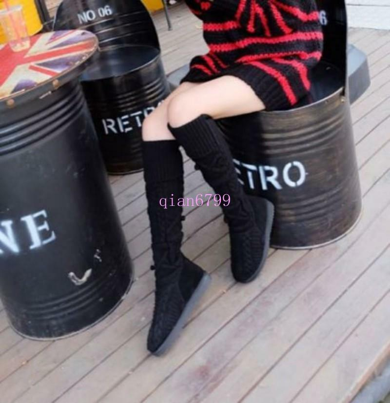 HOT Knitting Wool Winter Winter Donna Donna Winter Over Knee High Boot Pull On Slim Leg Flat 8d3efb