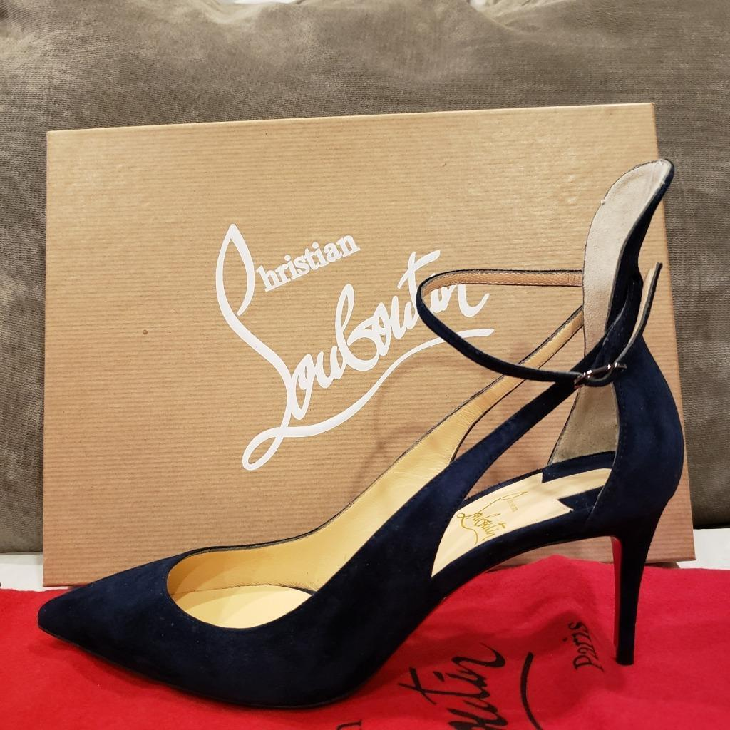 Christian Louboutin MASCARA 70 Strappy Pumps Heels Sandals shoes Navy bluee  895