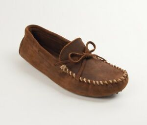 Minnetonka-Men-039-s-Classic-Driver-Brown-Ruff-Leather-Moccasin-Shoe-793