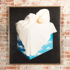 """Rene Magritte School """"Pear on a Cloud Cube"""" Surrealism Still Life Oil Painting"""