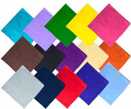 Unifarben Bandana Einfarbig Tuch Kopftuch Halstuch viele Farben 100% Baumwolle