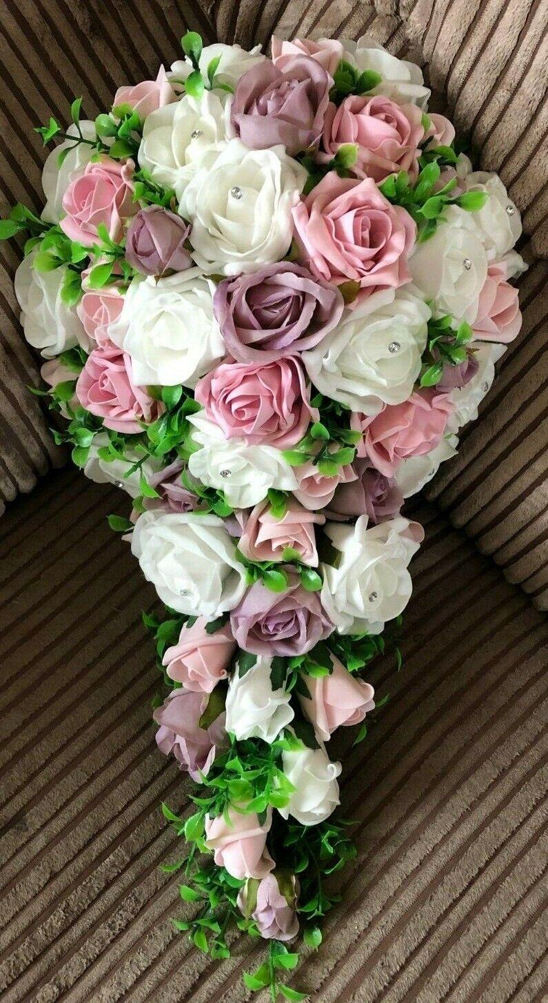 Mariage Fleurs Bridal Shower (Larme) Bouquet Blanc & Mauve & rose