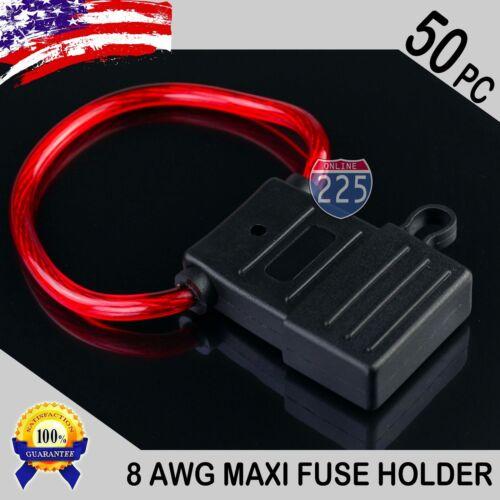 50 Pack 8 Gauge APX MAXI Inline Blade Fuse Holder Waterproof Cap 12V//24V//32V DC
