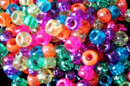 100 pcs  stardust transparent assorted acrylic round pony beads 6x4mm