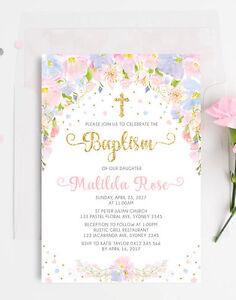 pastel floral baptism invitation pink gold confetti christening