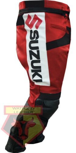 SUZUKI GSX RED MOTORBIKE MOTORCYCLE REAL COWHIDE LEATHER ARMOURED PANT//TROUSER