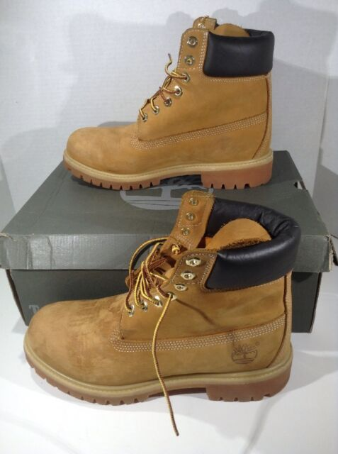 TIMBERLAND Mens 6 In Premium Wheat Brown Leather Ankle Boots Shoes Size 8 ZJ -699