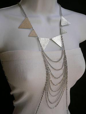 New Women Silver Necklace Multi Waves Choker Metal Body Chain Trendy Jewelry