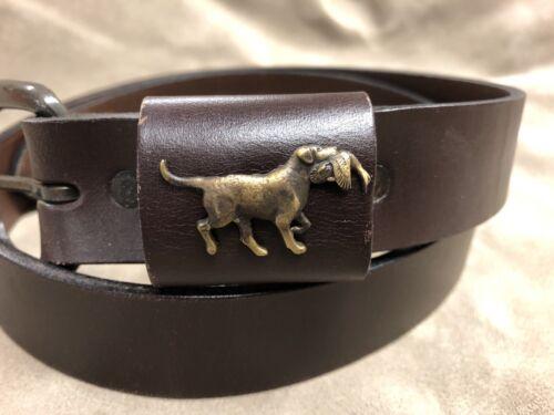 Royden Leather Belt with Sid Bell Brass Dog Labrador Retriever Emblem