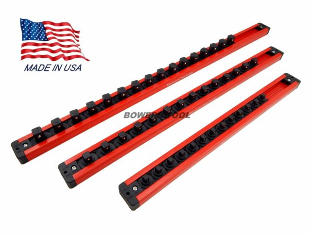 "Mechanics Time Saver Lock-A-Socket Tray Set 1//4 3//8 /& 1//2/"" Drive w 3 Rows Each"