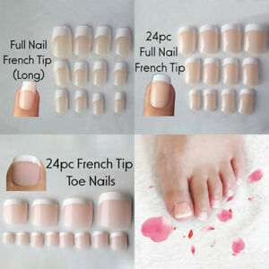 Image Is Loading 24pcs Natural French False Toe Full Nail Tip