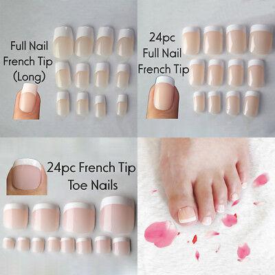 24pcs Natural French False Toe Full Nail Tip Nail Art Accessory Long Manicure Ebay