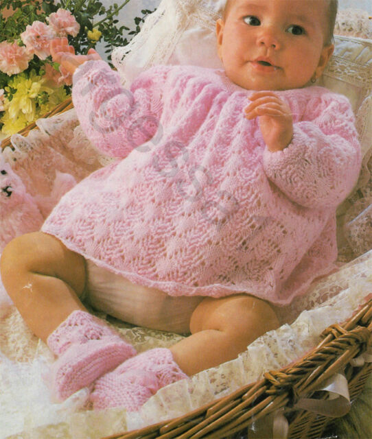 knitting pattern Cute baby dress and Bootees in 4 ply- vintage 1970- 18-19 Chest