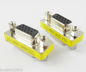 1pc VGA HD15 Converter Connector 15pin 3 row Male to Male Mini Gender Changer