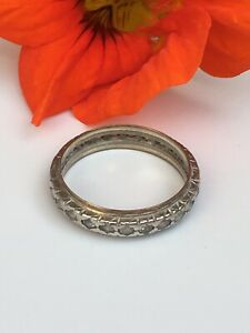 Antique-Art-Deco-Size-O-Eternity-ring-9ct-gold-amp-silver-Diamond-Paste