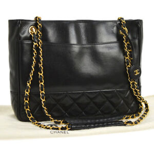 Auth CHANEL Quilted CC Chain Shoulder Tote Bag Black Leather Vintage ... 8c3c0eb0cf2ae
